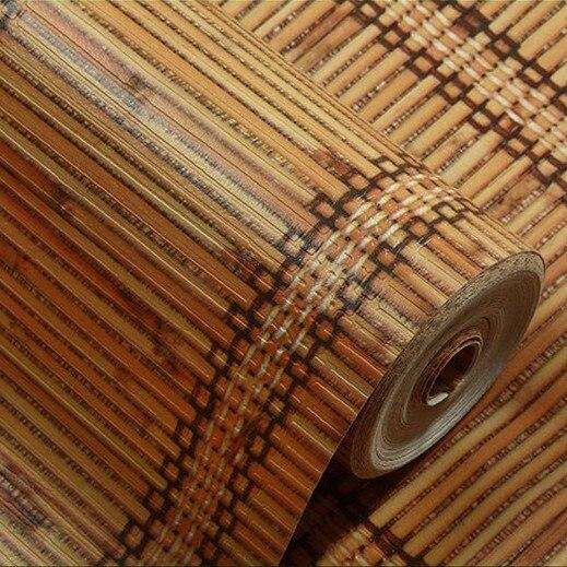 New Southeast Asia Concavity Imitation Bamboo PVC Waterproof Wallpaper Study Tea Background Wallpaper 3d papel de parede<br>