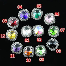 12mm,5pcs/bag,12 color rectangle shape crystal glass rhinestone Handmade sew on rhinestone claw stone Silver bottom for dress 01