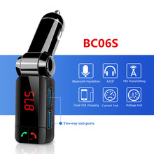 2017 BC06S Bluetooth Car Kit Handsfree FM Transmitter Car MP3 Player Dual Reversible USB Charger With Current Voltage Detection(China)