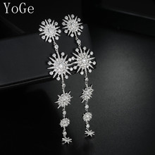 YoGe E5764 Great design AAA cubic zirconia stars shaped super long drop earrings ,gorgeous women's accessaries,(China)