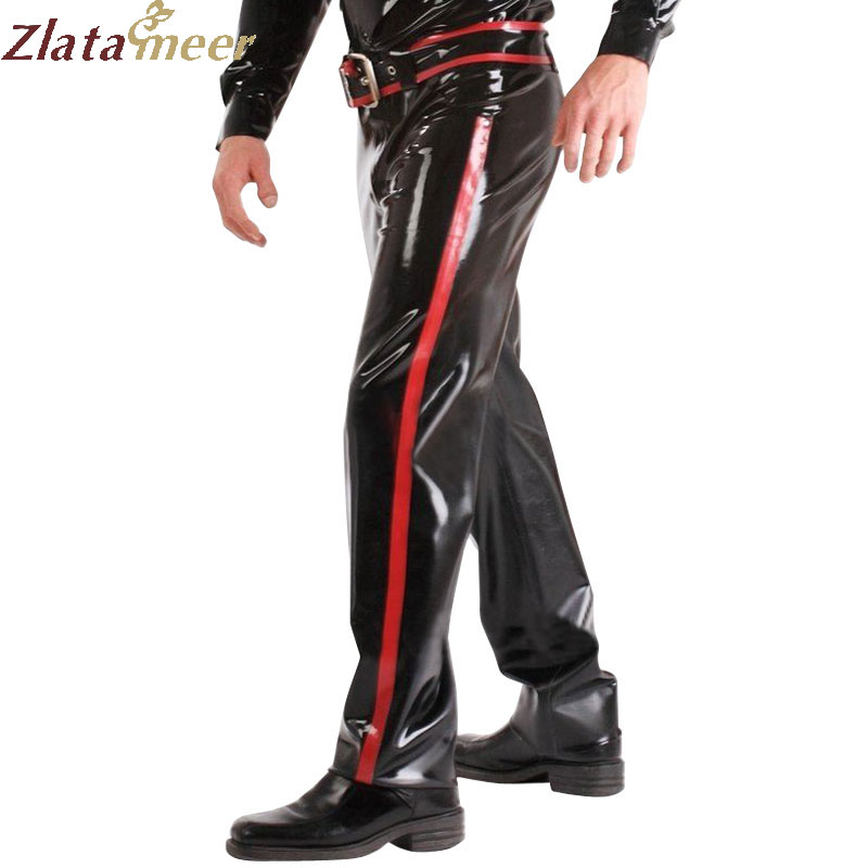 Fashion Rubber Latex Pants with Belt Latex Trousers LTM026