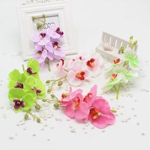 1 units / lot 17 cm butterfly orchid artificial flowers silk bouquet with peduncle of coffee living room dining table wedding de