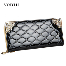 2016 Luxury Vintage Brand Women Long Patent Leather Plaid Wallet Female Clutch Ladies Phone Purse Coin Credit Card Holder Cuzdan(China)