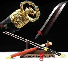 Chinese Sword Tang Dao Thoroughly tempered Damascus Steel Red Blade RedWood Scabbard Vintage Home Decor Sharp swords