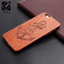 U&I New Anchor Laser Engraved Cell Phone Case for iPhone 5 5S 6 S 7 PLUS Red RoseWood Wolf Rose Wood Fundas Tree Factory Housing