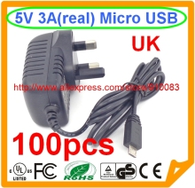 100pcs UK PLUG IC 5V 3A adapter Micro USB ad ac adapter 5V 3000MA(China)