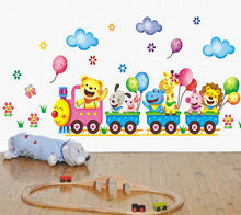 DIY Cute Carton Animal Train Car Kids Wall Stickers Flowers Balloon Baby Children Rooms Decoration Wall Decor Adesivo De Parede
