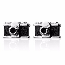 HYX Jewelry square Black camera Brand Cuff Buttons French Shirt Cufflinks For Mens Fashion Cuff Links(China)