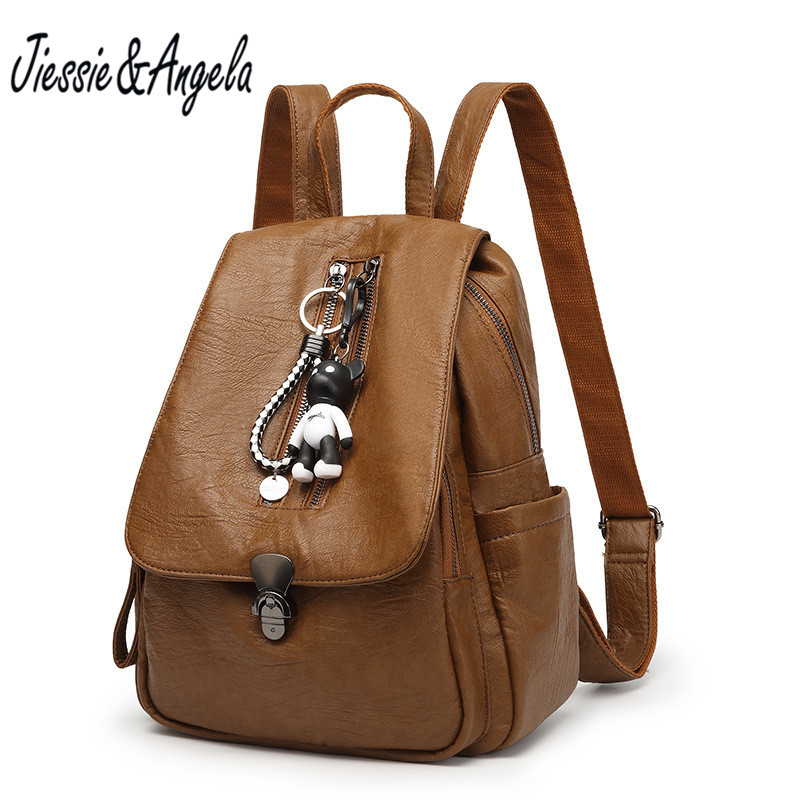 Jiessie &amp; Angela New Vintage Women Backpacks With Bear High Quality Femal Leather Backpack Teenage Girls School Bag Shoulder Bag<br>