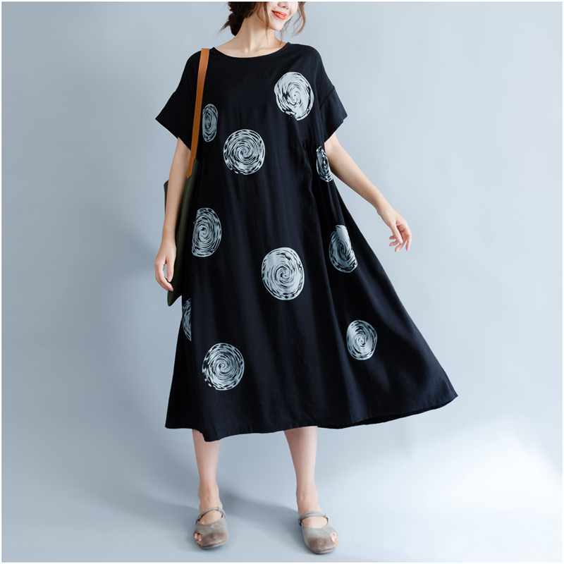 DIMANAF Women Summer Dress Big Size Cotton Linen Casual Soft Style Black Polka Dot Oversized Loose Female Sundress Clothing 2018 11