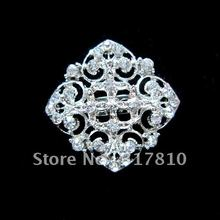 Silver Plated Rhinestone Crystal Flower Design Collar Brooch for wedding invitation