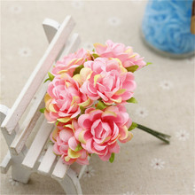 chenap 6 pcs / lot Silk Rose Bouquet Artificial Flowers For The Wedding Decoration House Flores Wedding Clothing Hats Accessorie(China)