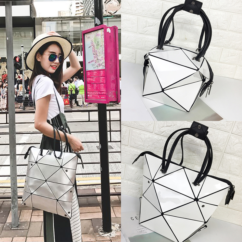 Geometric Women HandBag Folding shoulder bag Hundred Change Package Split Joint Laser Hand Bill Of Lading Shoulder Package<br>