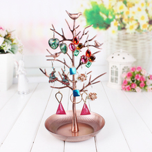 Retro Copper Earring Display Shelf Fashion Jewelry Tree Stand Necklace Display Organizer Holder Show Rack Dangle Earring Frame