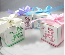 50pcs/lot  Baby Shower Ribbon Favour Gift Candy Boxes Wedding Favors and Gifts for Wedding