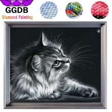 GGDB 5D DIY Diamond Painting Cat Diamond Cross Stitch Crystal Square Diamond Set Unfinished 3D Diamond Mosaic Art Craft Gray Cat