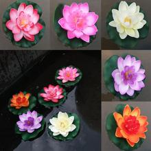 10CM Artificial Water Lily Plant Decor Fake Lotus Float Flower Yard Pond Tank(China)