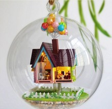B006 DIY Glass Ball Doll House Flying house wood dollhouse miniature toy Building Kits Birthday Gift(China)