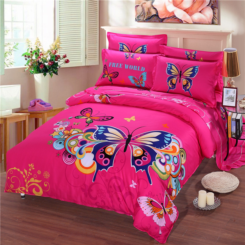2017 Luxury Best Quality Bedding 100%Cotton 1000TC Chinese Style Rose Red Butterfly Cover 3D Duvet Cover King Cotton(China (Mainland))