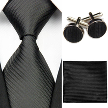 "Mens Accessories Solid Striped Slim Business Silk Tie Sets Hanky Handkerchief Cufflinks Necktie Ties for Men Gravatas 3""/7.5cm"