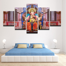 Wall Art Pictures Canvas HD Prints Modern Home Decor 5 Piece Elephant Head God Poster India Tibetan Ganesh Painting Frame PENGDA(China)