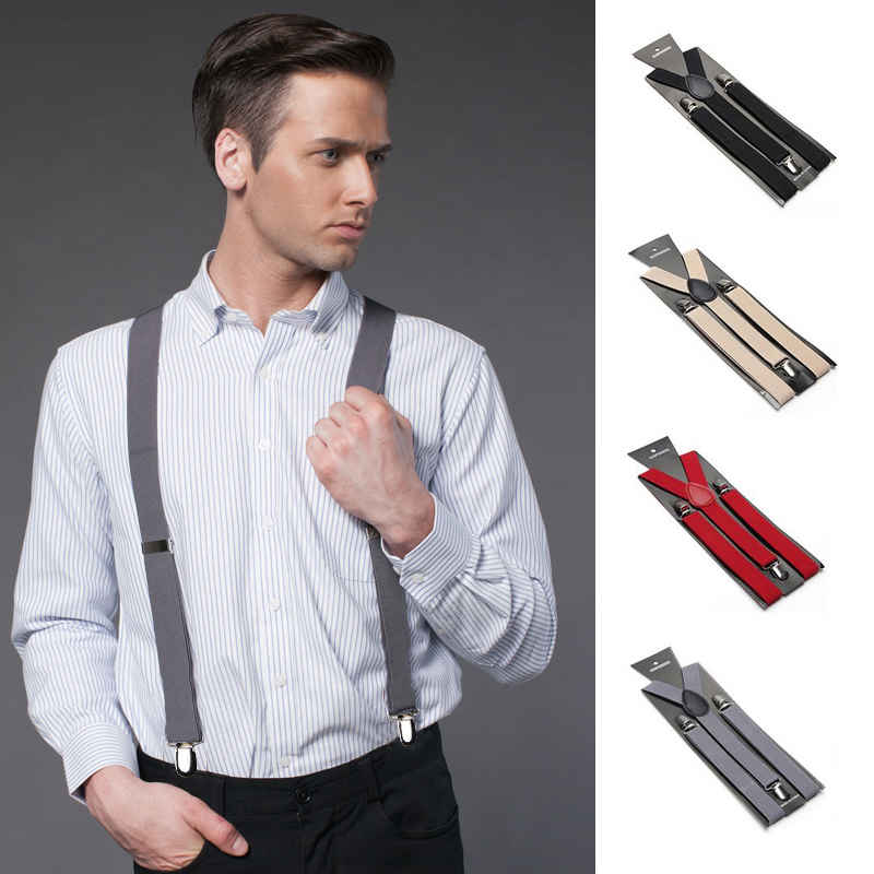 35mm Elasticated Heavy Duty Mens Suspenders Braces Adjustable Strong Metal Clips