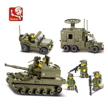 576 pieces baby boy blocks plastic Model Building Kits Military Armored vehicles bricks toys boy Army Jeep blocks toys N0308(China)