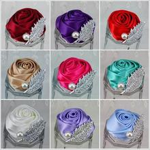 5Pcs Pretty Brand New Wedding Groomsman Groom Boutonniere Party Prom Man Corsage Hand Custom Made Satin Rose Men Suit Brooch Pin(China)