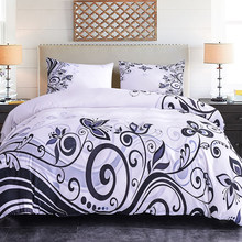 ZEIMON Soft 2/3pcs Flowers Pattern Duvet Cover With Pillowcase Simple Plant Printed Bedding Set Polyester Fabric For Home Decor(China)