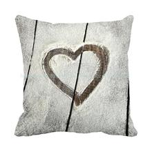 Love Is Drawn On The Dust Floor Print Custom Sofa Cushions For Valentine's Gift Accent Throw Pillows Cojines Decorative Pillows(China)