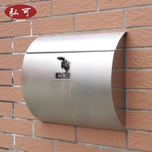 Stainless steel mailbox, outside the villa 'mailboxes, wall hanging, rainproof, lock, post box, boite aux lettres, stamps postal(China)