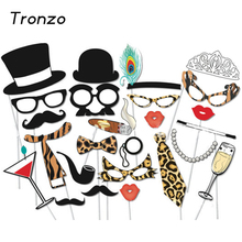 Tronzo New Wedding Decoration Photo Booth 25Pcs/set  Sexy Leopard Beard Glasses Birthday Party Supplies Photo Decor