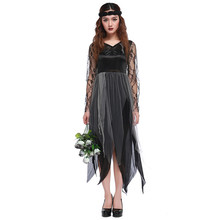 New Woman's Polyester Black Lace Long Dress Halloween Cosplay Zombie Ghost Bride Costume Occident Style High Quality H1681210(China)