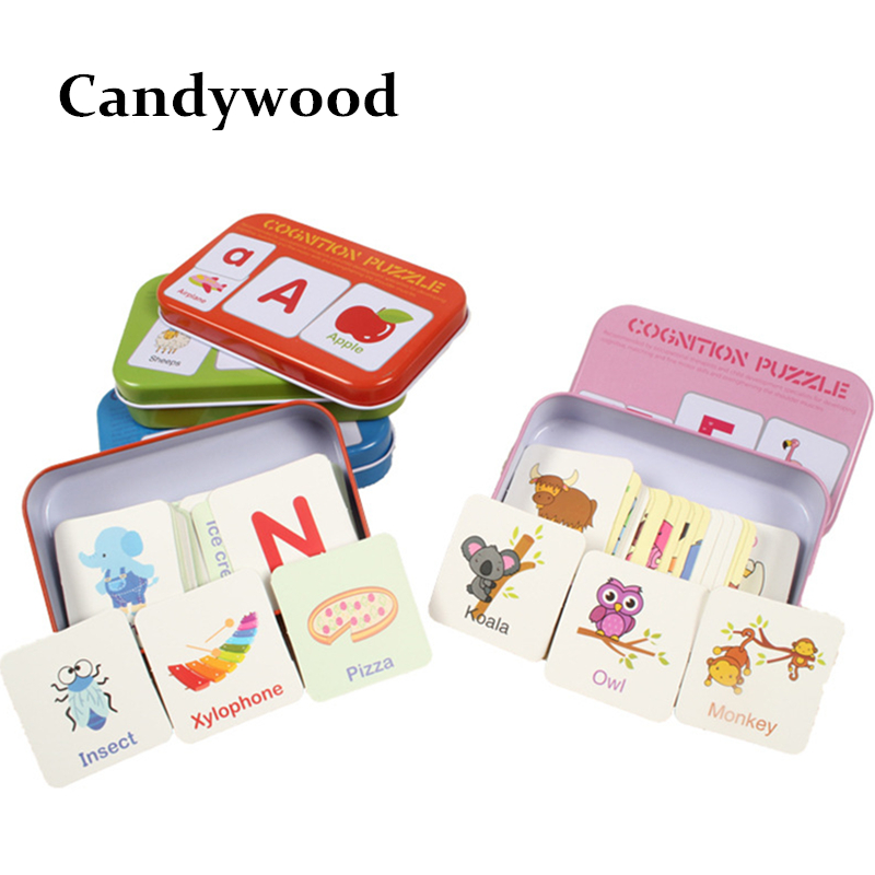 Kids Toys Cartoon Graph Match Game Puzzle Card Learning Letters Alphabet Jigsaw Puzzles Educational Wooden Toys(China)