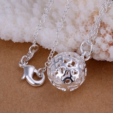 silver plated fashion jewelry pendant Necklace, 925 jewelry silver plated necklace Small solid ball necklace almf yfox