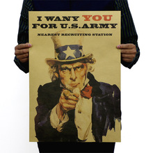 Vintage Poster Uncle Sam World War II Recruit Advertisement Movie Poster Comic Kraft Paper Painting Hanging Picture Wall Sticker