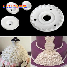 4pcs/set Lace Skirt Rim Plunger Cutter Barbie Doll Decorate Cake Mold Sugarcraft Fondant Kitchen Baking Cookie DIY Tools JJ525(China)