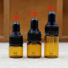 1ML 2ML 3ML Brown Glass Dropper Bottle, Empty Cosmetic Container, Essential Oil/Perfume Packaging Bottle (100PC/Lot)