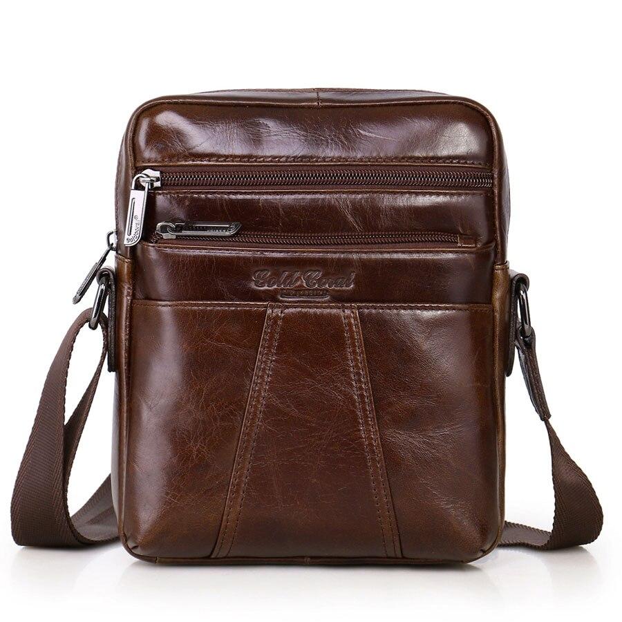 Mens High Quality Genuine Leather Cowhide Vintage Cross Body Shoulder Messenger Bags Tablet computer bag leisure package<br>