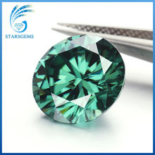 7.5mm 1.5ct round brilliant cut mint green moissanites gem stone for making jewelry(China)