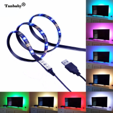 Tanbaby TV Backlight Bias Lighting Balack PCB 5050 LED Strip Lights waterpfor tape Mini USB RGB Light Kits for Flat Screen LCD