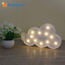 11 LED White Cloud Letter light For Christmas Decoration Kid's Gift Light Up 3D Night light Lamp Battery operated(China)