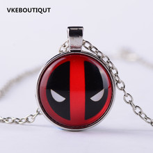 3/Color Anime Necklace Deadpool Chain Necklace Vintage Diffuse Movie Die Shi Deadpool Logo Glass Pendant Necklace(China)
