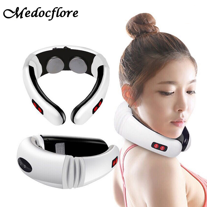 New arrived Electric Pulse Back Neck Massager Cervical Vertebra Treatment Instrument Therapy health care <br>