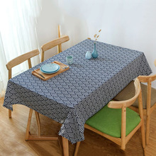 Japanese Style Dinner Table Cloth Wave Pattern Cotton Linen Tablecloth Home Kitchen Table Covers Coffee Tablecloths