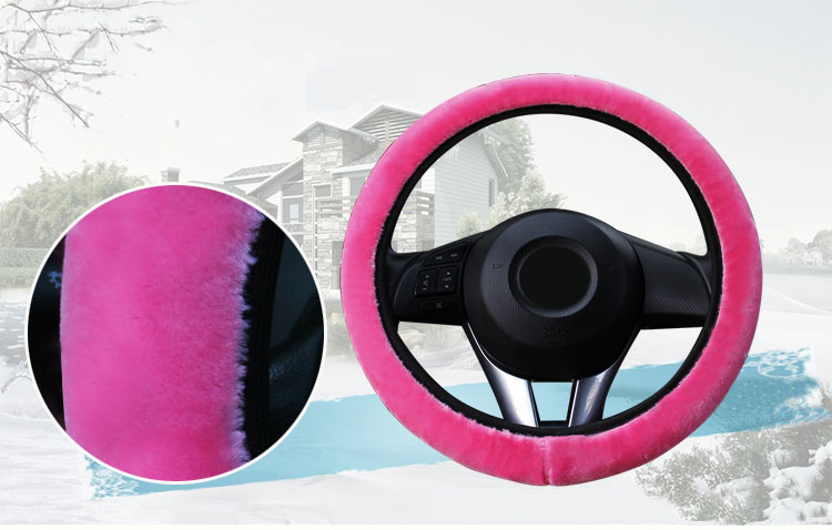 winter Steering Wheel Cover+Handbrake cover + car Automatic Covers / Warm Super thick Plush Gear Shift Collar 4