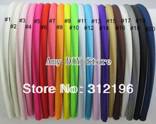 MyAmy 40pcs/lot 7 mm colored satin covered resin hairbands fashion hair band headband girls plastic headbands Free Shipping
