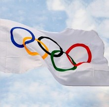 Olympic Flag 5 x 3 FT - 100% Polyester With Eyelets Banner Sign Rings Summer 90*150cm free shipping(China)