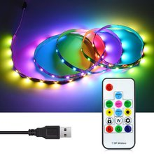 SMD5050 Dream colorful DC5V USB RGB LED Strip Digital Individually Addressable Magic WS2812B IC 5050 Pixel LED Strip tape(China)