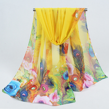 2017 Hot Sale Print Silk Scarf Chiffon Scarves Women Wrap Sarong Sunscreen Beach Cover Up Long Cape Female FD042
